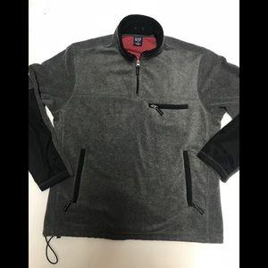 Gap mens gray 1/4 zip fleece pullover jacket large